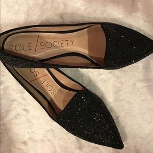 Sole Society black glitter flats 6.5